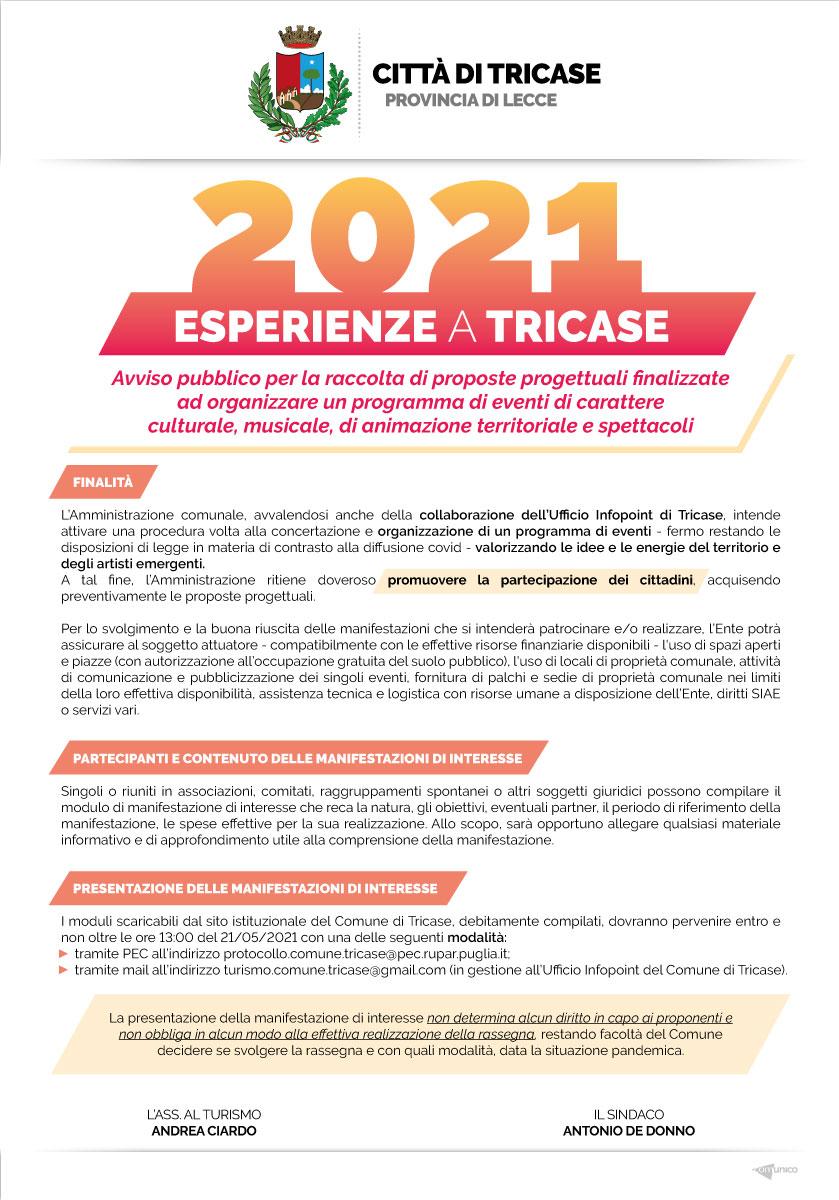 Comune Di Tricase Avviso Pubblico Acquisizione Proposte Progettuali Finalizzate All Organizzazione Di Un Programma Di Eventi 20211